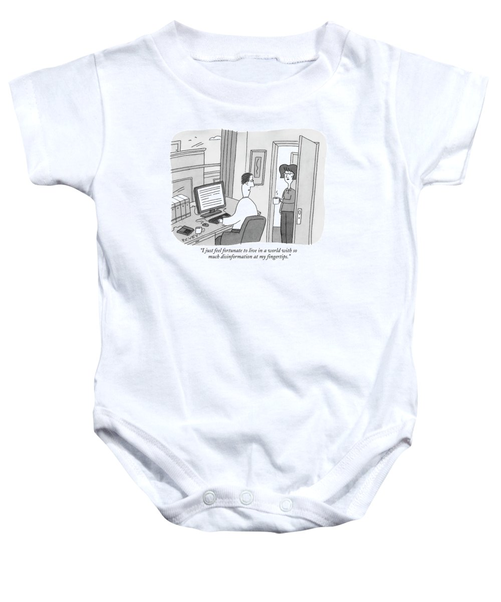 Internet Baby Onesie featuring the drawing I Just Feel Fortunate To Live In A World by Peter C. Vey