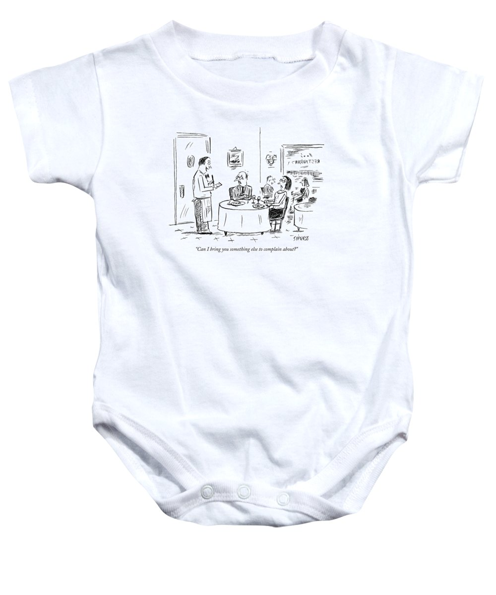 Service Word Play Restaurants Anger  (waiter Talking To Angry Couple At A Table.) 121754 Dsi David Sipress Baby Onesie featuring the drawing Can I Bring You Something Else To Complain About? by David Sipress