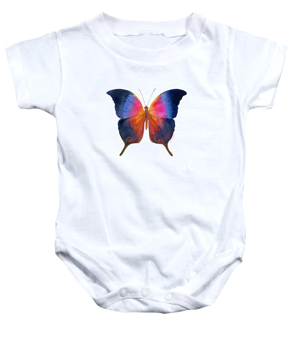 Brushfoot Butterfly Baby Onesie featuring the painting 96 Brushfoot Butterfly by Amy Kirkpatrick