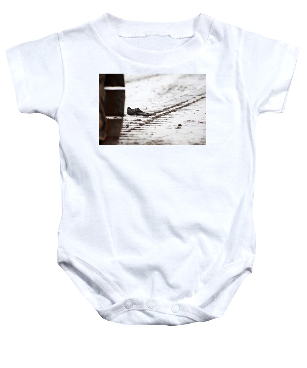 Tracks Baby Onesie featuring the photograph A Bad Day by Karol Livote