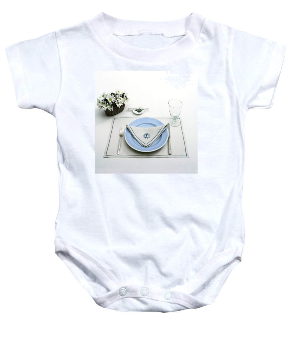Utensils Baby Onesie featuring the photograph A Blue Table Setting by Haanel Cassidy