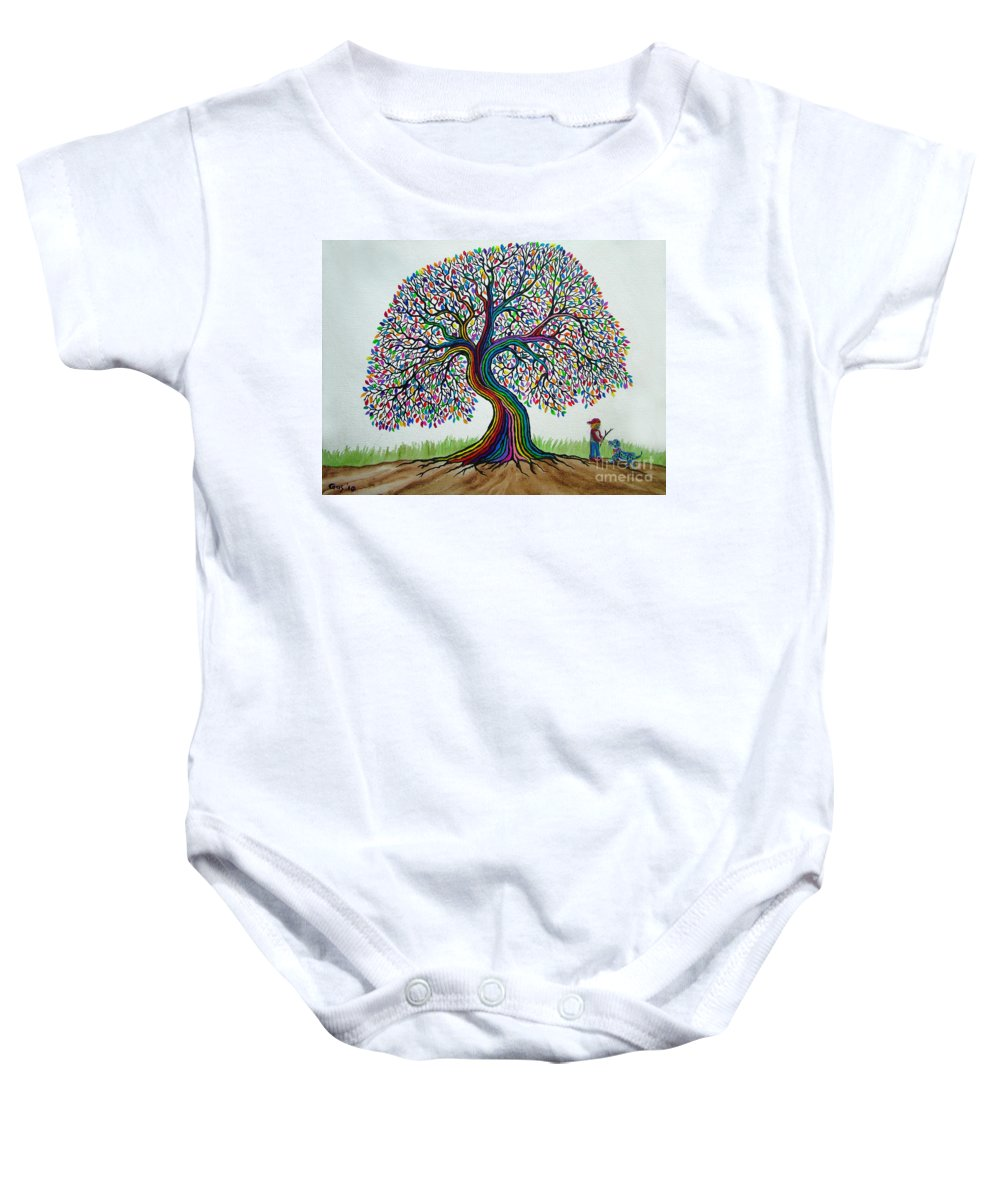 Rainbow Tree Baby Onesie featuring the painting A Boy His Dog And Rainbow Tree Dreams by Nick Gustafson