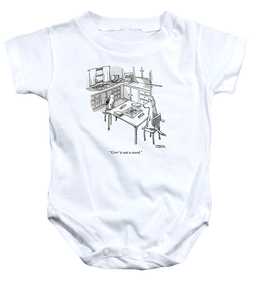 'grrr' Is Not A Word. Baby Onesie featuring the drawing A Cat And Dog Play Scrabble In A Kitchen. 'grrr' by Shannon Wheeler