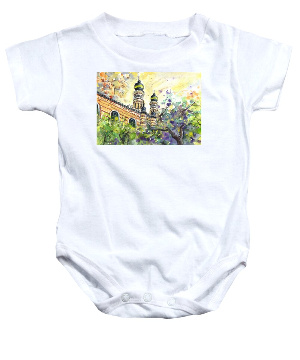 Travel Baby Onesie featuring the painting A Church In Budapest 01 by Miki De Goodaboom