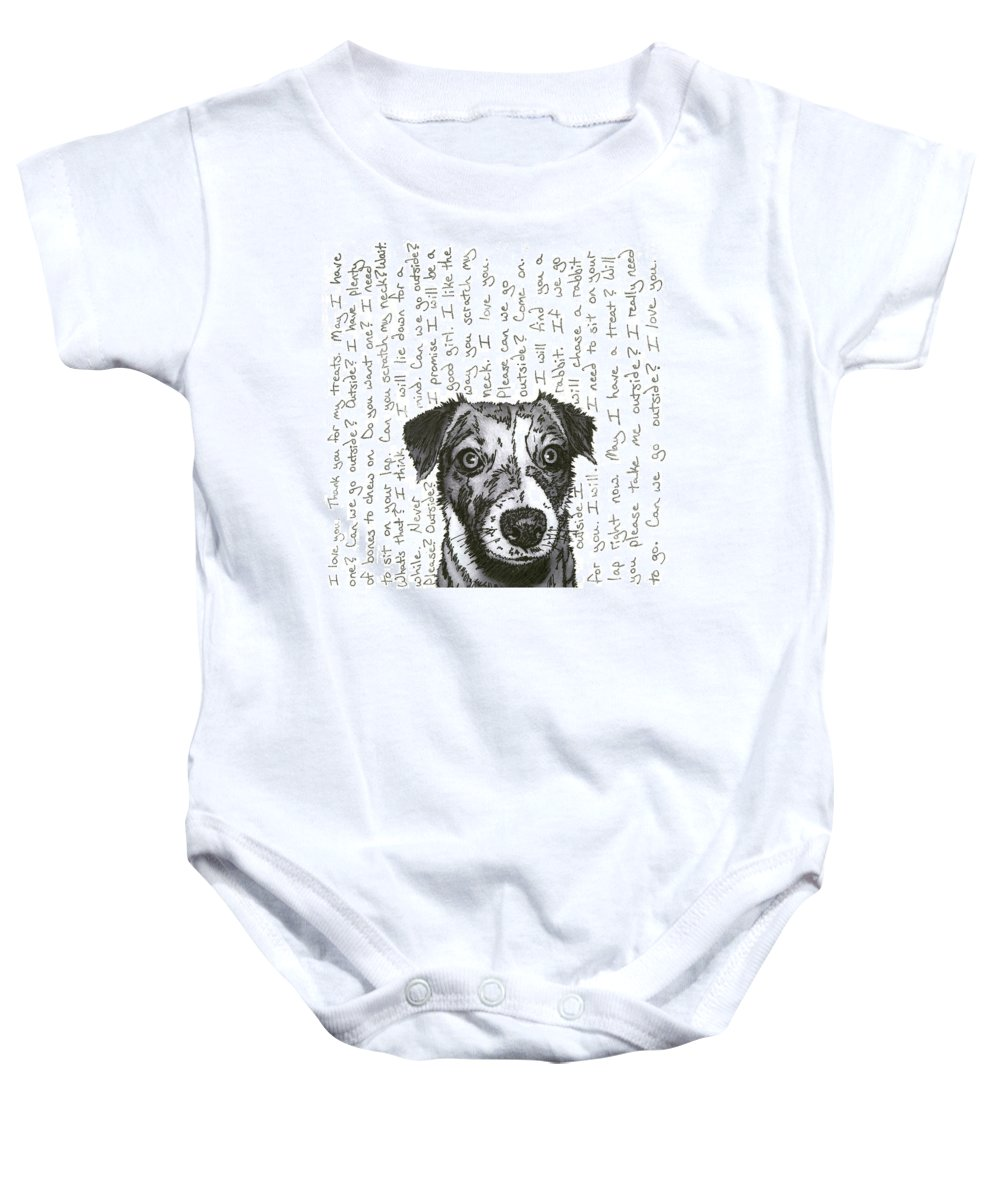Dog Baby Onesie featuring the mixed media A Conversation With A Jack Russell Terrier by Salvadore Delvisco