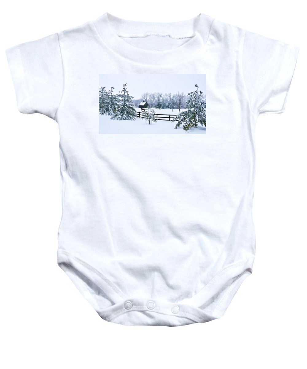 Winter Baby Onesie featuring the photograph A Country Winter by Christopher Nelson