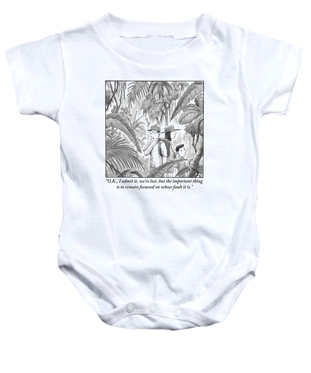 Lost Baby Onesie featuring the drawing A Family Is Lost In The Depths Of A Jungle by Harry Bliss