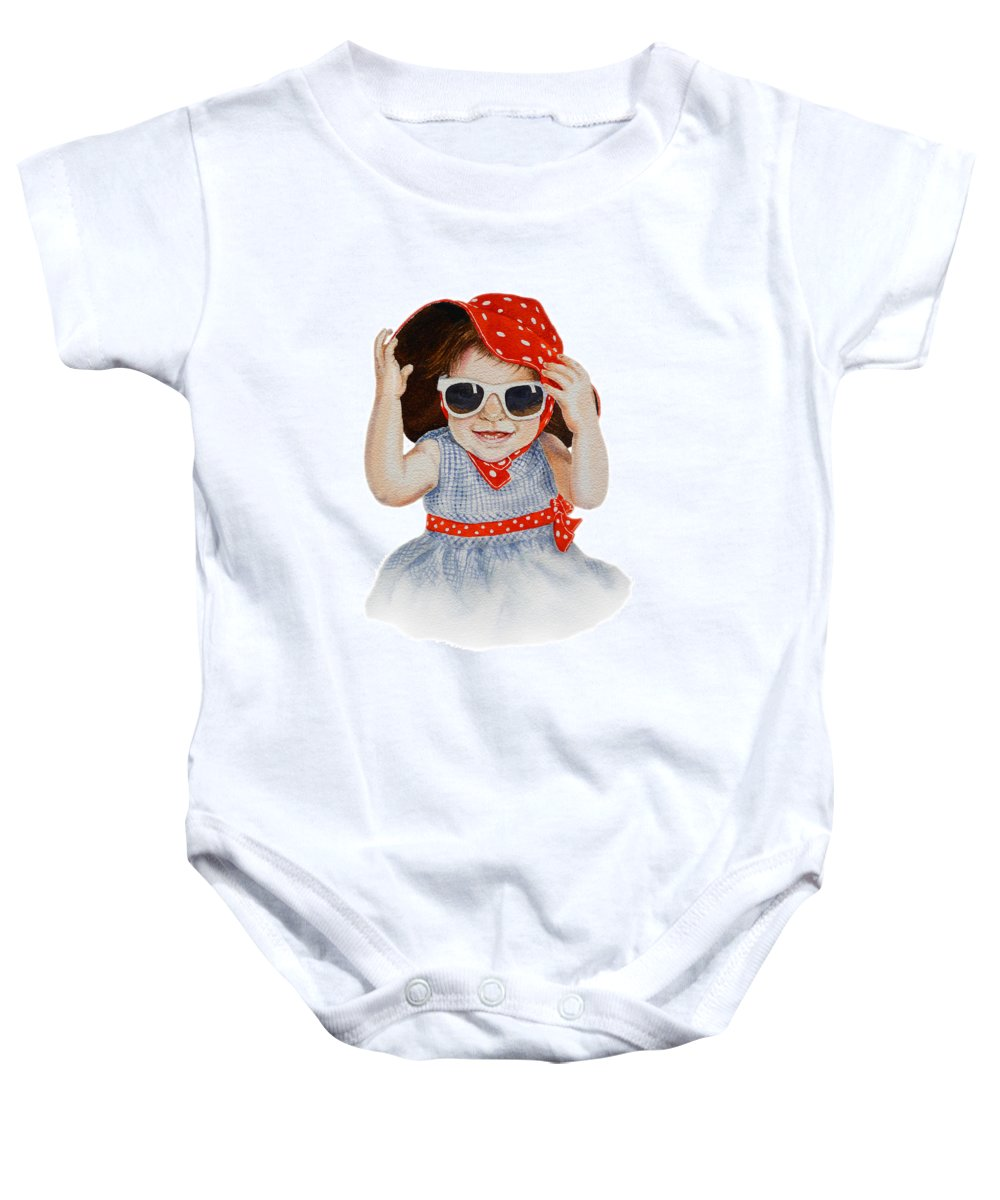 Red Hat Baby Onesie featuring the painting A Fashion Girl by Irina Sztukowski