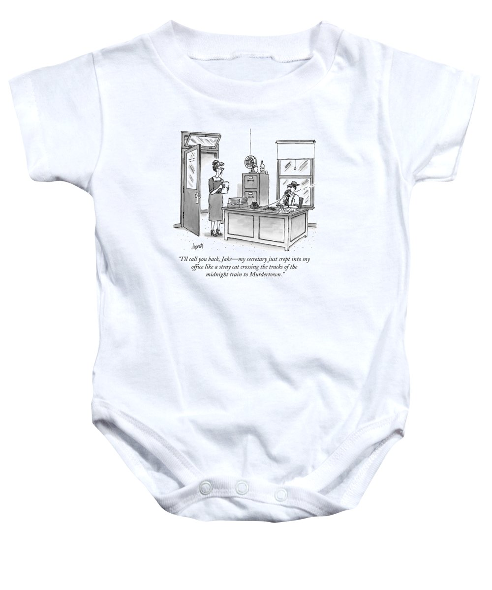 Raymond Chandler Baby Onesie featuring the drawing A Film Noir Detective Speaks On The Phone by Tom Cheney
