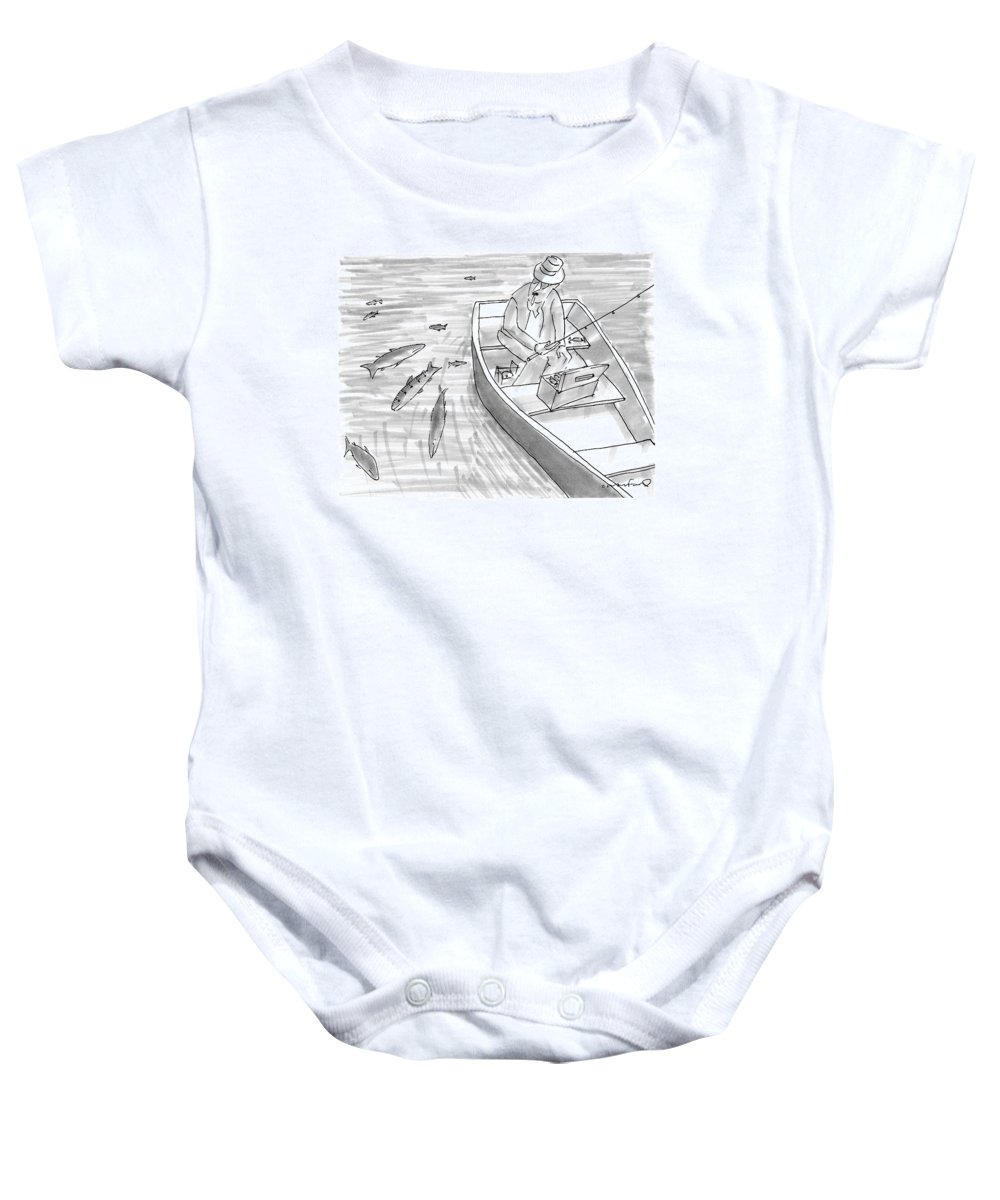 Fishing Baby Onesie featuring the drawing A Fisherman On A Rowboat Looks At The Fish by Michael Crawford