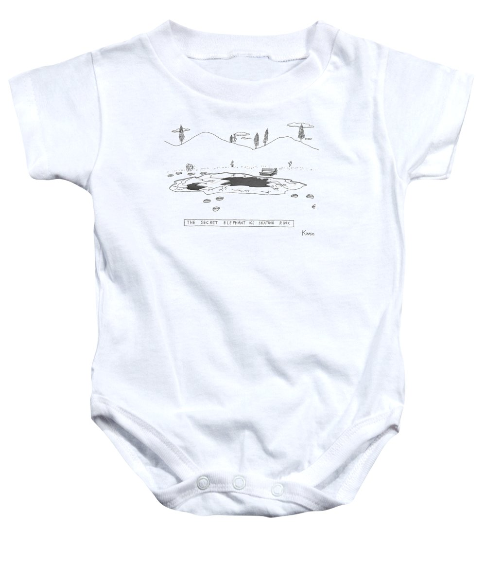 Captionless. Title: Baby Onesie featuring the drawing A Frozen Pond In A Snowy Winter. The Surface by Zachary Kanin
