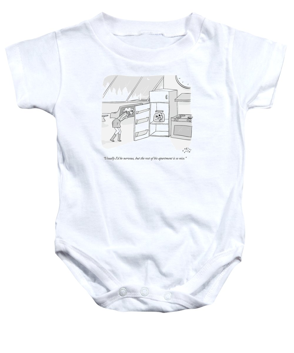 Date Baby Onesie featuring the drawing A Girl Who Is Talking On The Phone Opens A Fridge by Farley Katz
