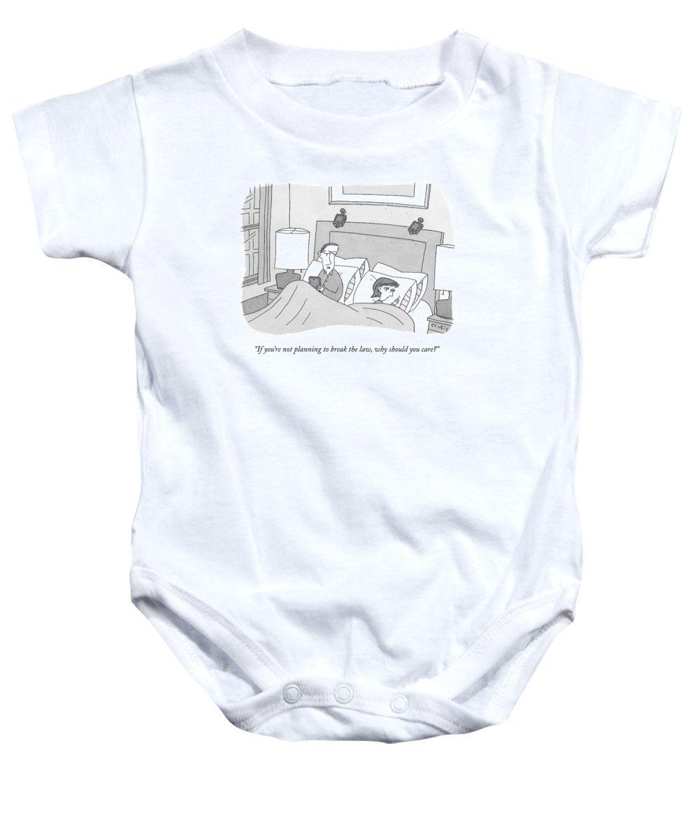 Surveillance Baby Onesie featuring the drawing A Husband Speaks To His Wife In Their Bed by Peter C. Vey