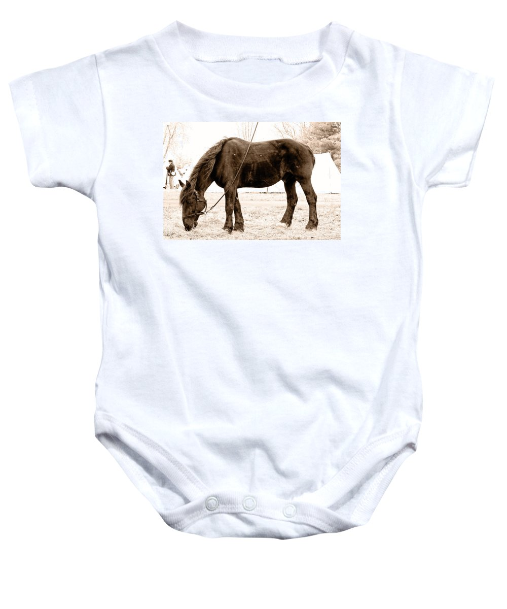 Horse Baby Onesie featuring the photograph A Little Hay by Alice Gipson