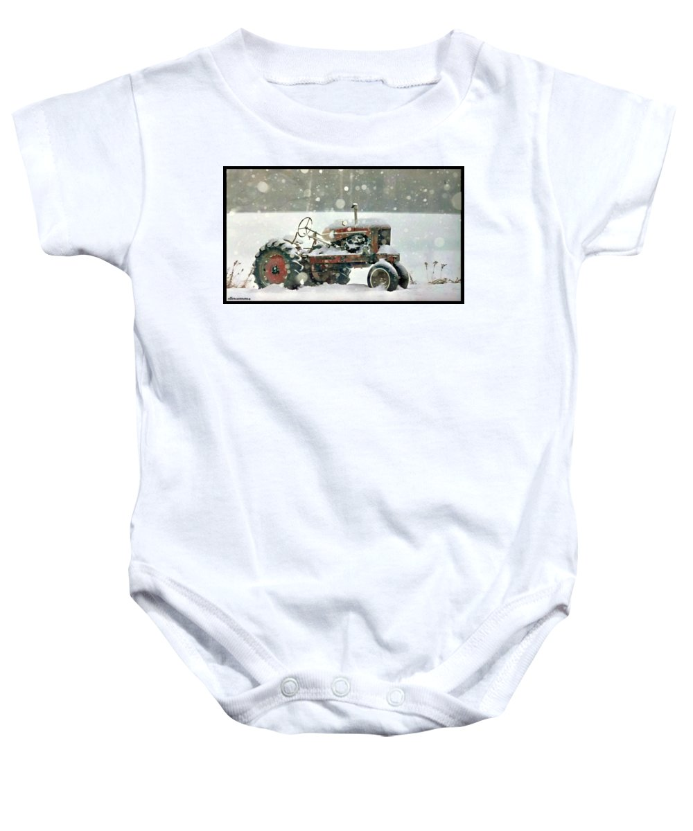 Iowa Baby Onesie featuring the photograph A Long Winter's Nap by Ellen Cannon