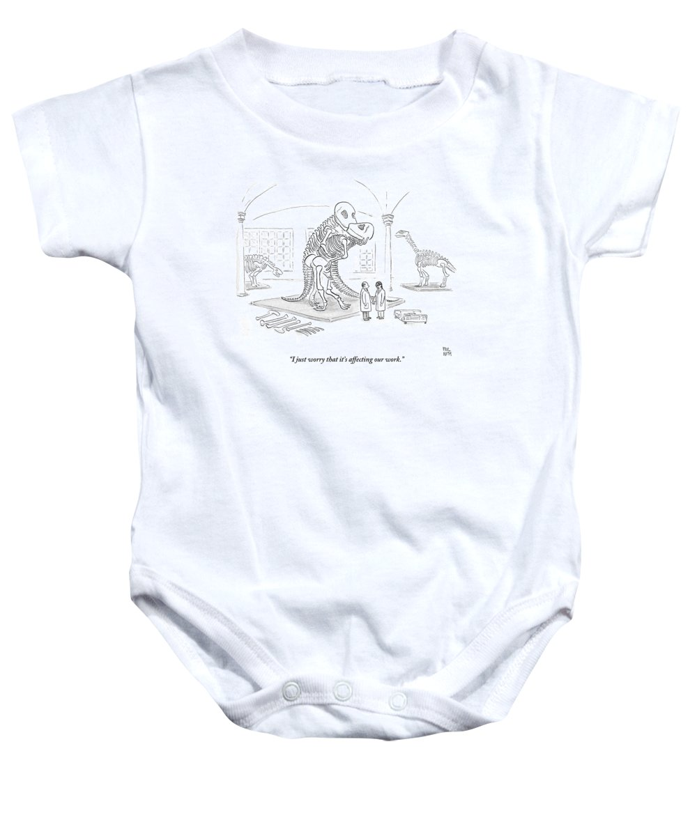 Scientists Baby Onesie featuring the drawing A Male And Female Paleontologist by Paul Noth