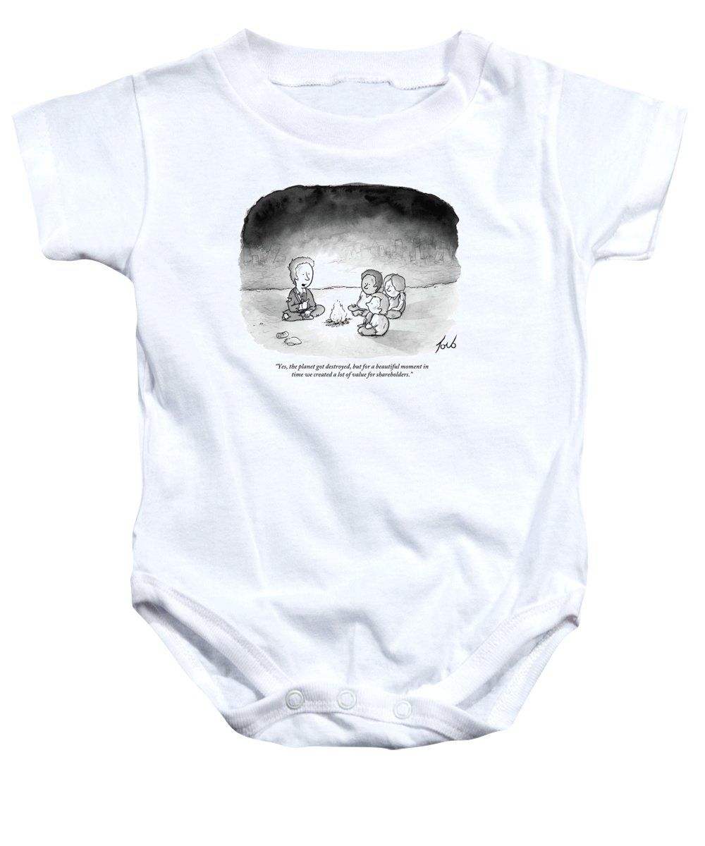 Yes Baby Onesie featuring the drawing A Man And 3 Children Sit Around A Fire by Tom Toro