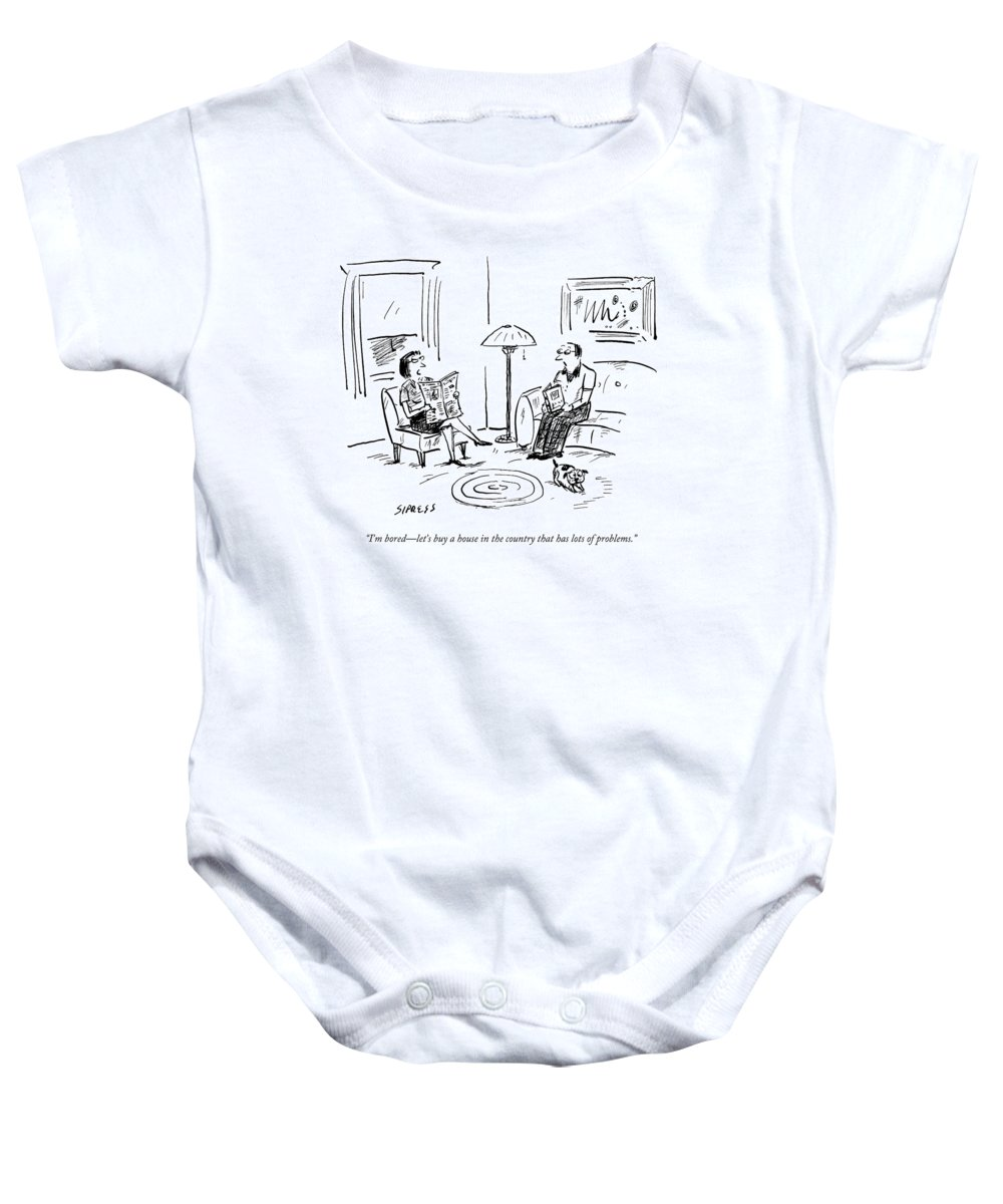 Flip Baby Onesie featuring the drawing A Man And A Woman Talk In Their Living Room by David Sipress
