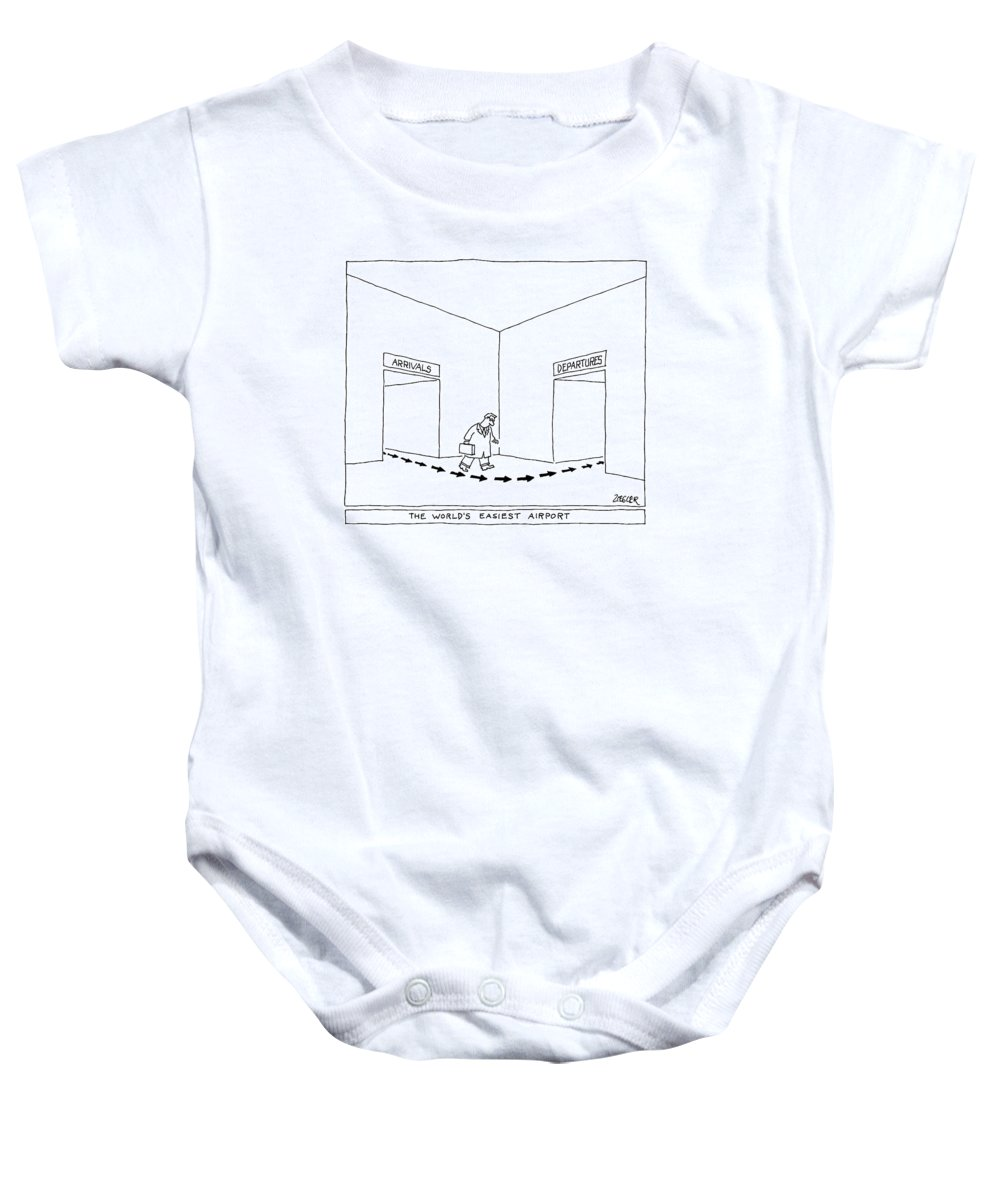 Captionless Airport Baby Onesie featuring the drawing A Man Follows Arrows That Lead From A Doorway by Jack Ziegler