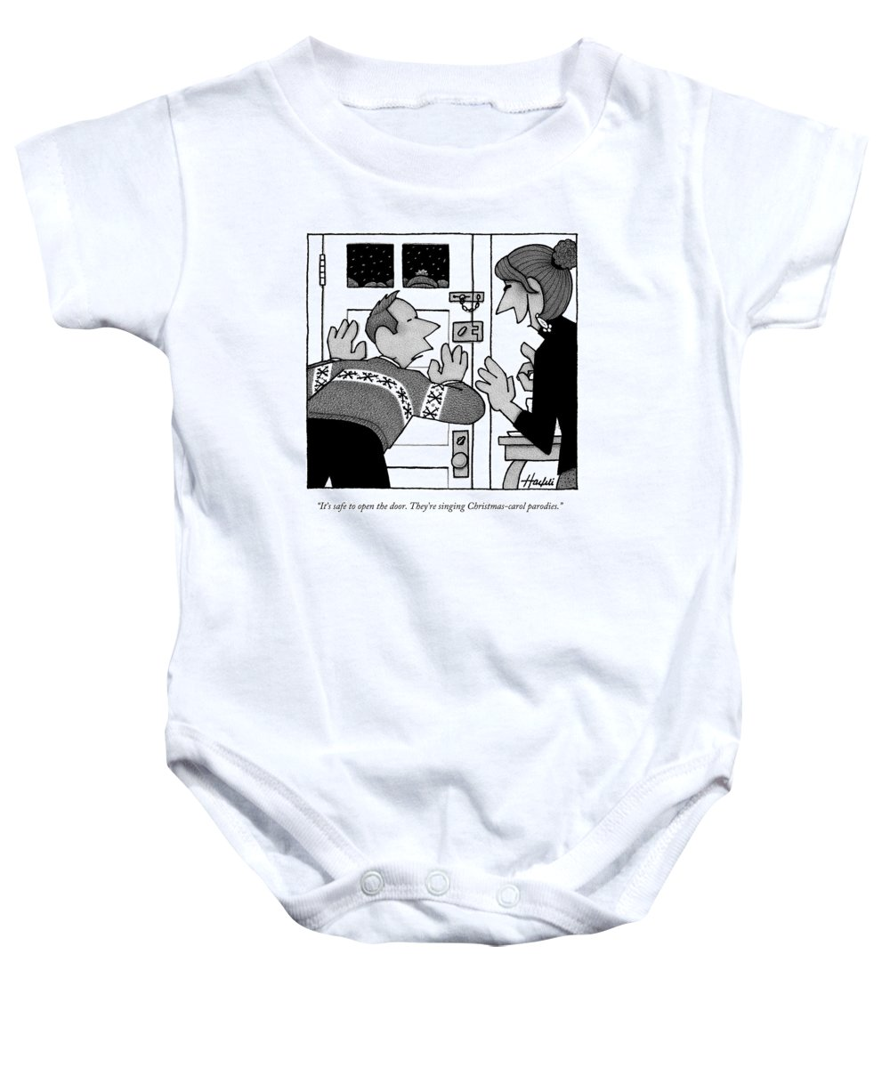 annoying songs baby onesie featuring the drawing a man in a christmas sweater presses he ear - He Man Christmas Sweater