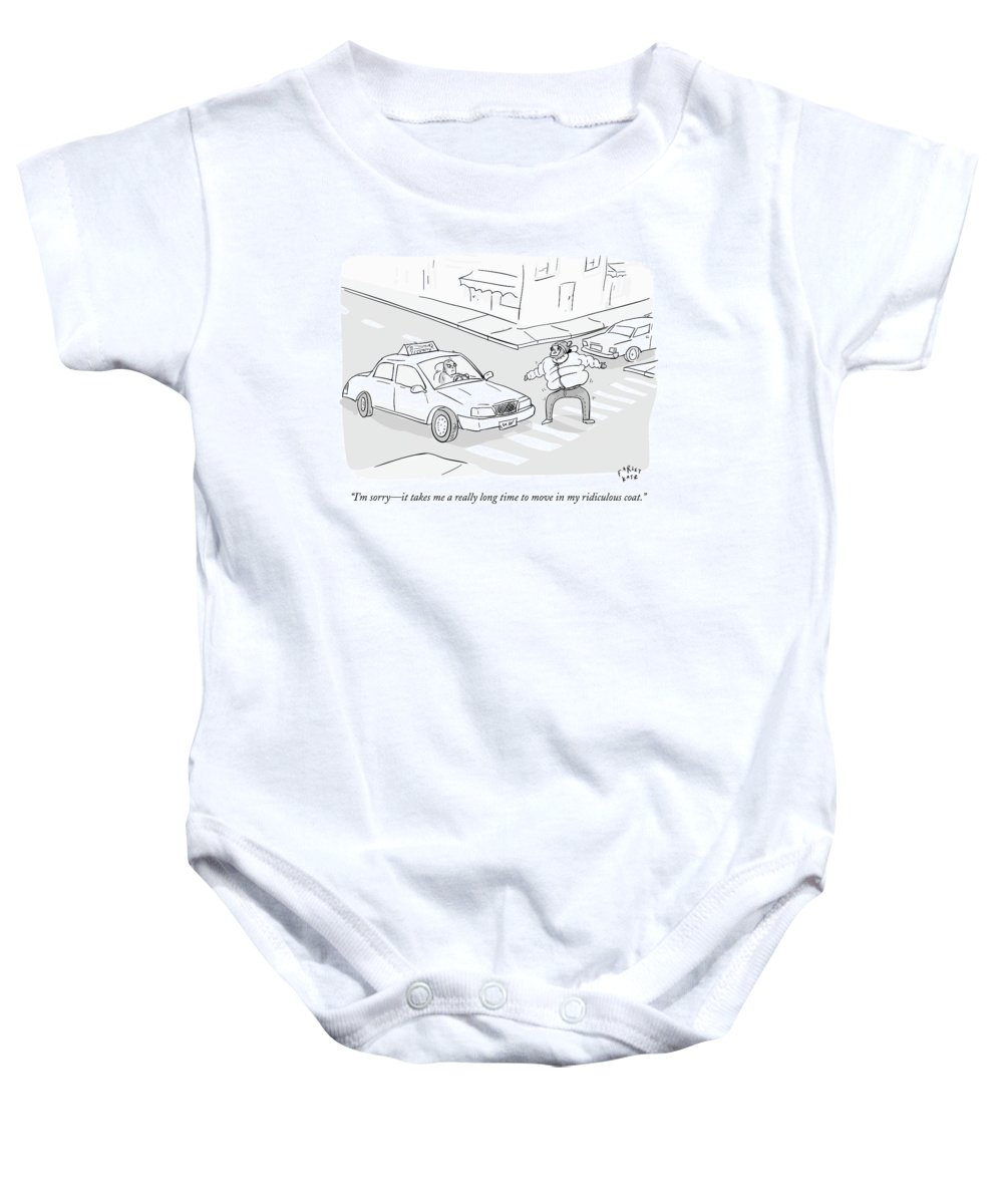 Winter Baby Onesie featuring the drawing A Man In A Puffy Winter Coat Walks Awkwardly by Farley Katz