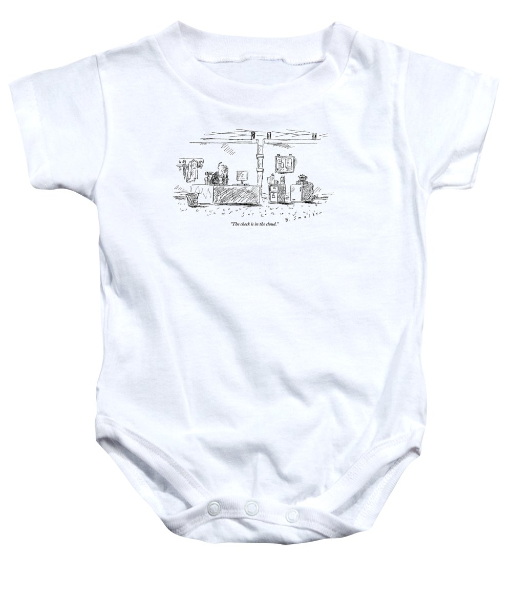 Computers Baby Onesie featuring the drawing A Man In An Office by Barbara Smaller