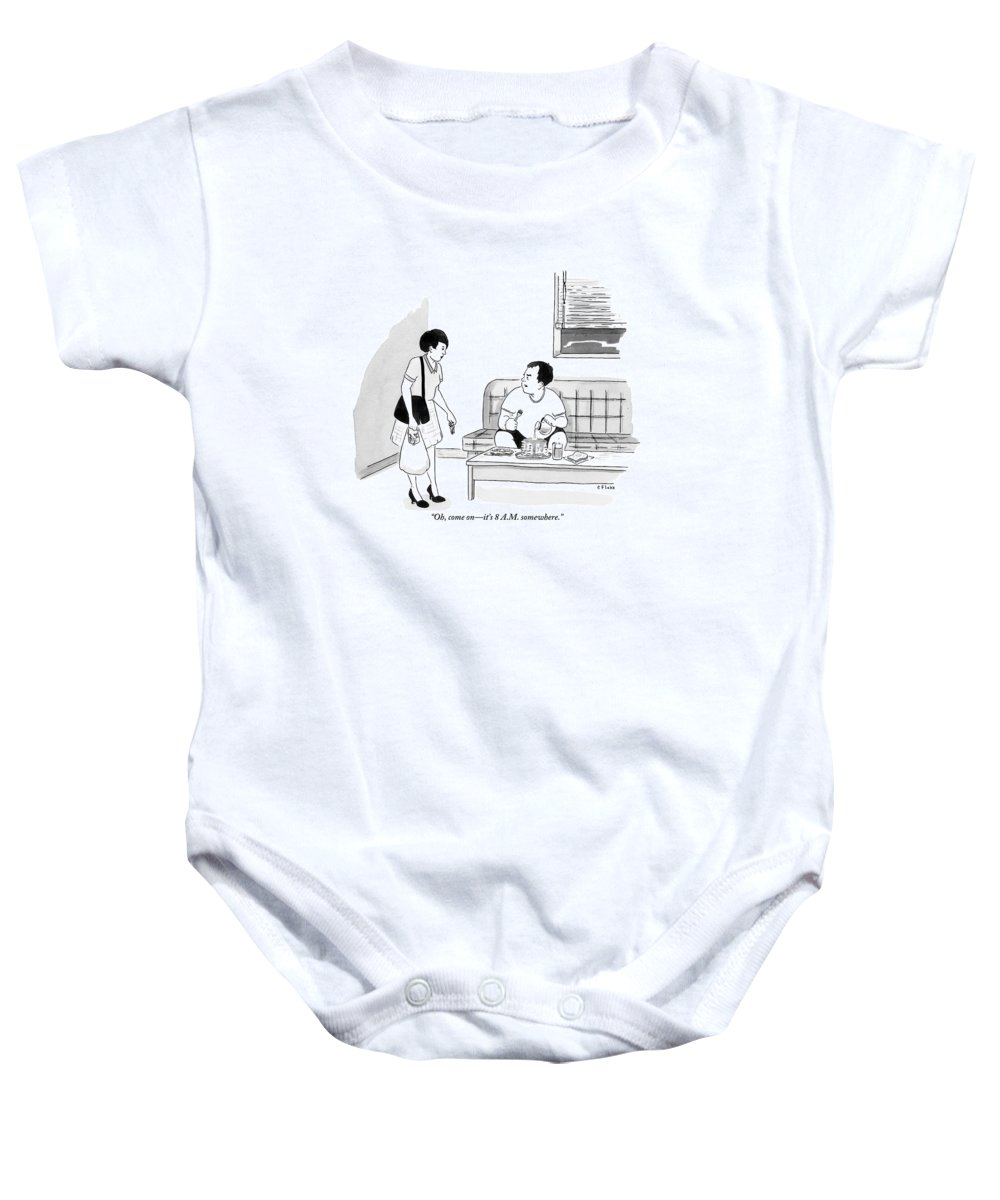 Pancakes Baby Onesie featuring the drawing A Man Sits Pouring Syrup Over A Stack Of Pancakes by Emily Flake