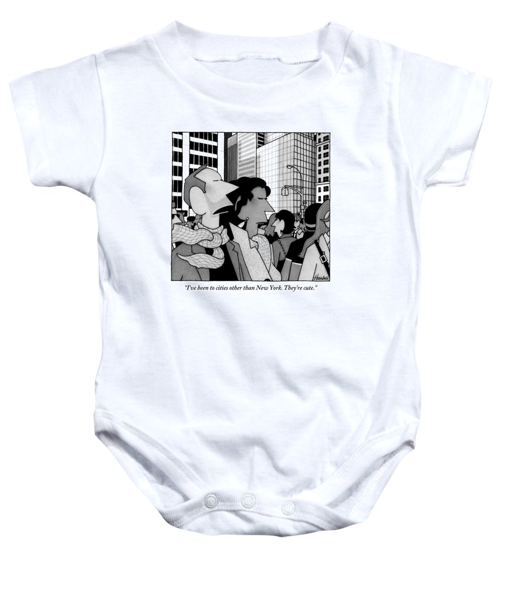 New York City Baby Onesie featuring the drawing A Man Speaks To His Wife In The Midst Of New York by William Haefeli