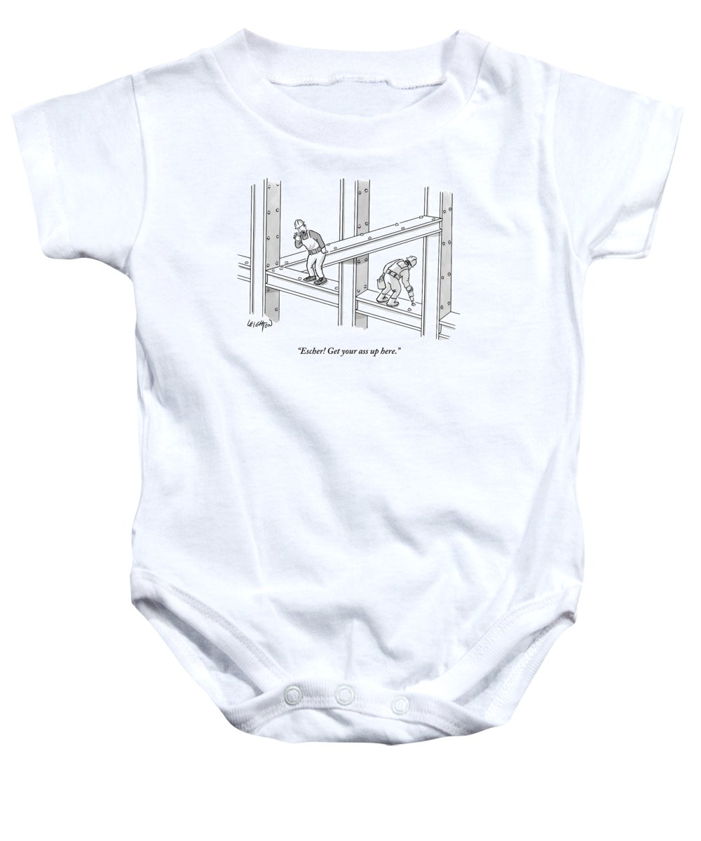 Construction Baby Onesie featuring the drawing A Men Works On The Sky Scraper Beams by Robert Leighton