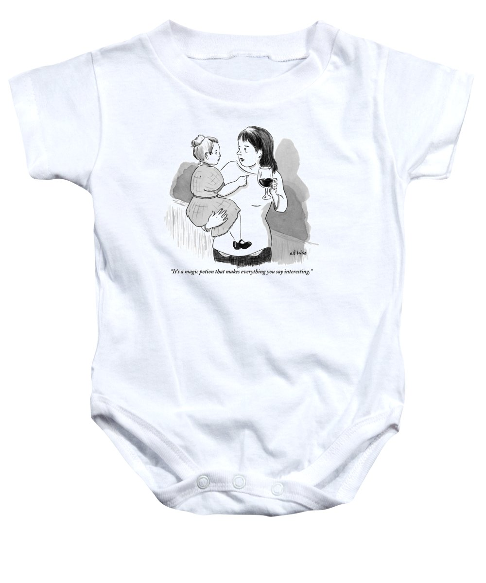 It's A Magic Potion That Makes Everything You Say Interesting. Baby Onesie featuring the drawing A Mother Explains To Her Young Daughter Who by Emily Flake