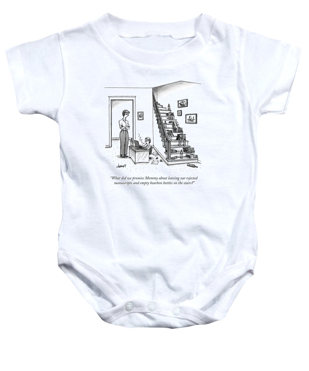 Writer Baby Onesie featuring the drawing A Mother Speaks To Her Son by Tom Cheney