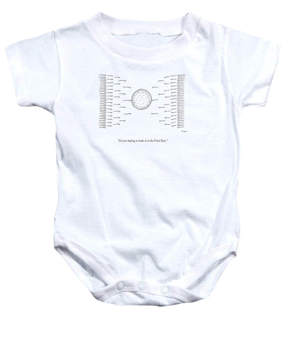 March Madness Baby Onesie featuring the drawing A Number Of Sperms Approach An Egg In The Shape by Michael Shaw