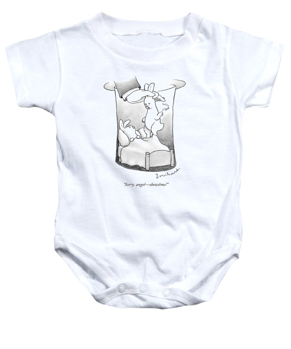 Rabbit Baby Onesie featuring the drawing A Rabbit Is Being Pulled Out Of A Hat by David Borchart