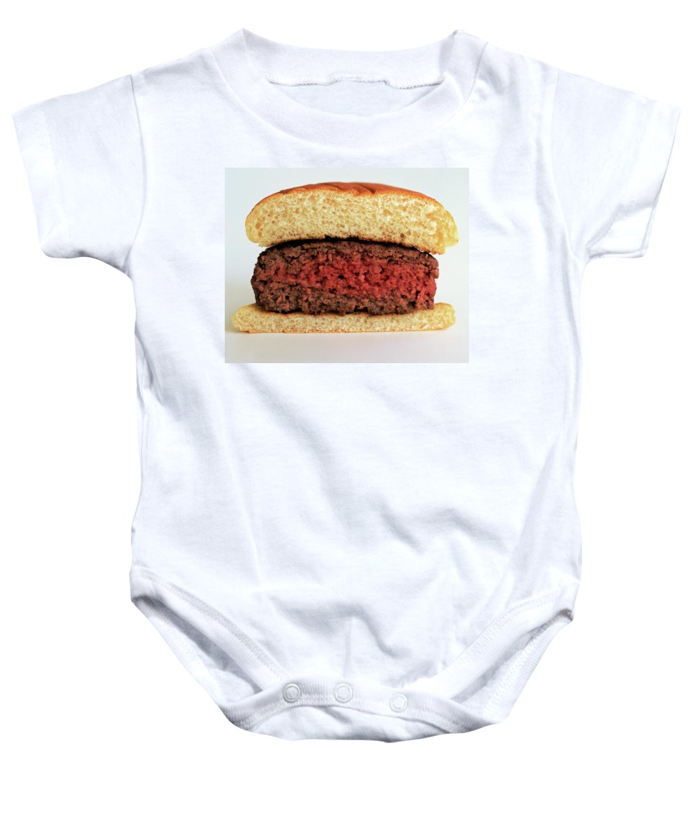 Cooking Baby Onesie featuring the photograph A Rare Hamburger by Romulo Yanes
