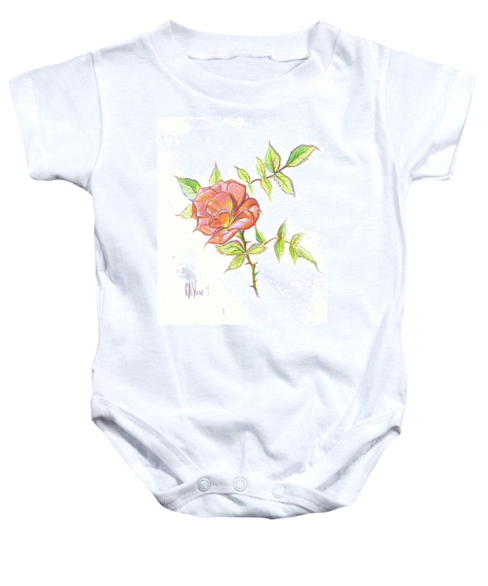 A Rose In Brigadoon Baby Onesie featuring the drawing A Rose In Brigadoon by Kip DeVore