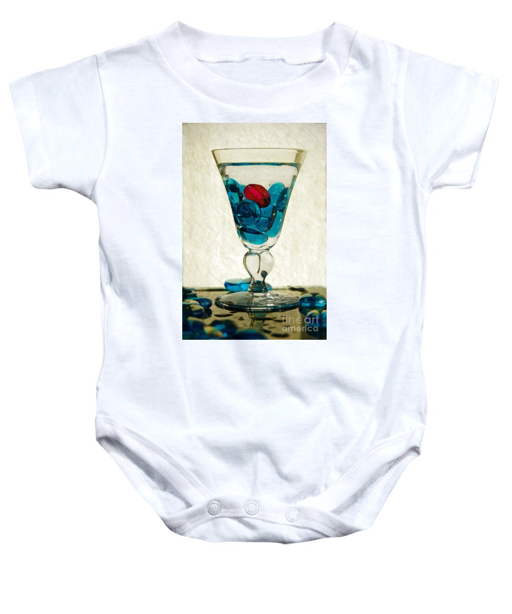 Blue Glass Stones Baby Onesie featuring the digital art A Splash Of Color by Margie Chapman