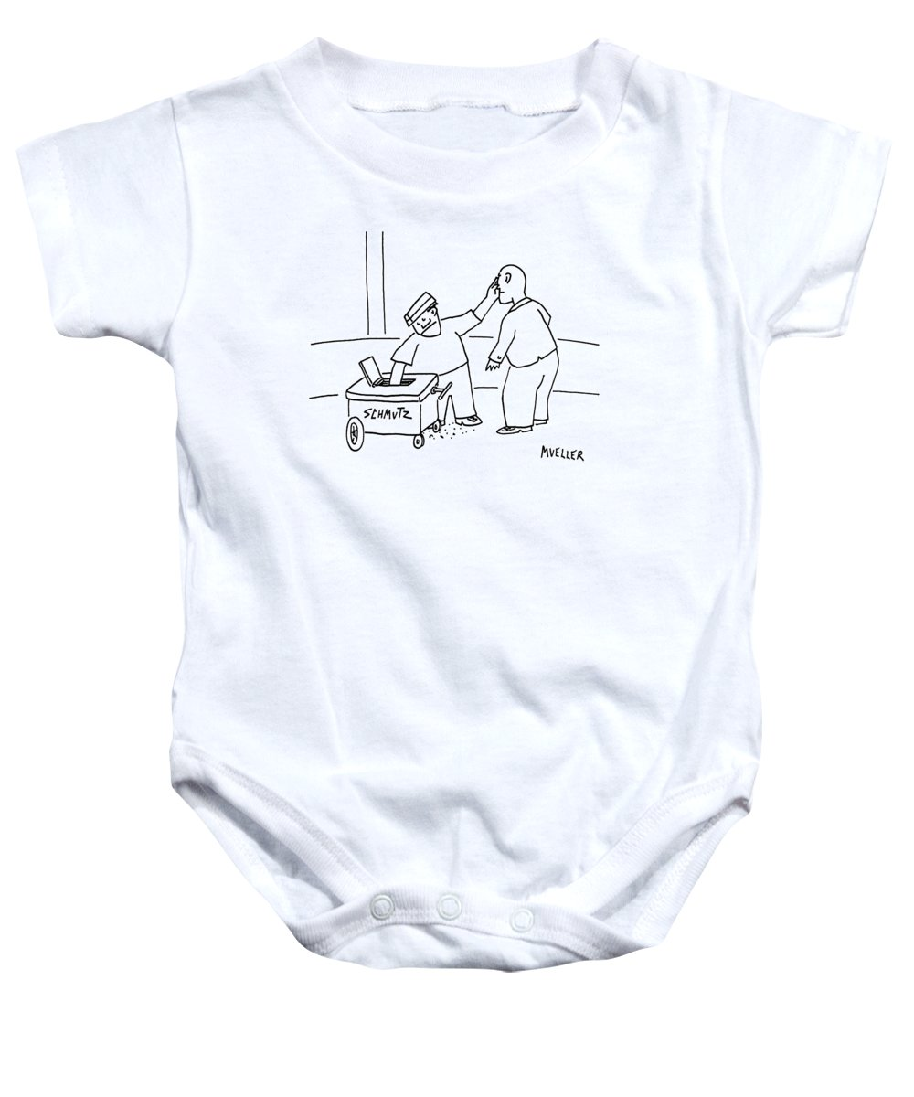Hot Dog Carts Baby Onesie featuring the drawing A Street-vendor's Cart Is Labeled Shmutz by Peter Mueller