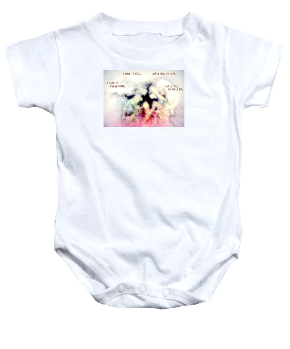 Stone Baby Onesie featuring the photograph There Is A Time To Kill And A Time To Break Down by Hilde Widerberg