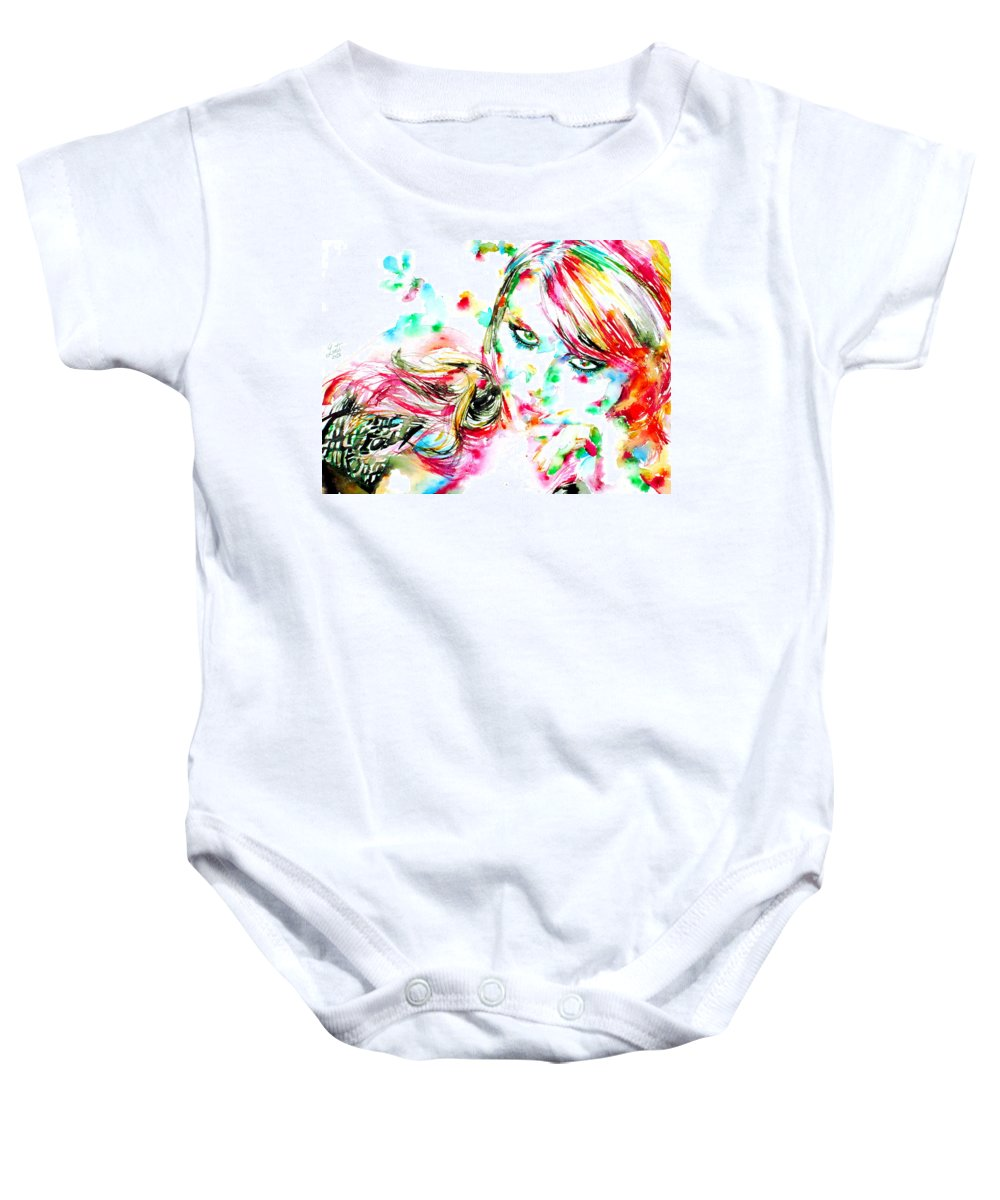 Girl Baby Onesie featuring the painting A Vast Surrender Was His Only Strength by Fabrizio Cassetta