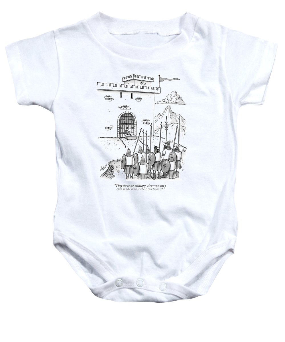 fe602551 A Viking Army Stands Before A Castle Gate Where Onesie for Sale by Tom  Cheney