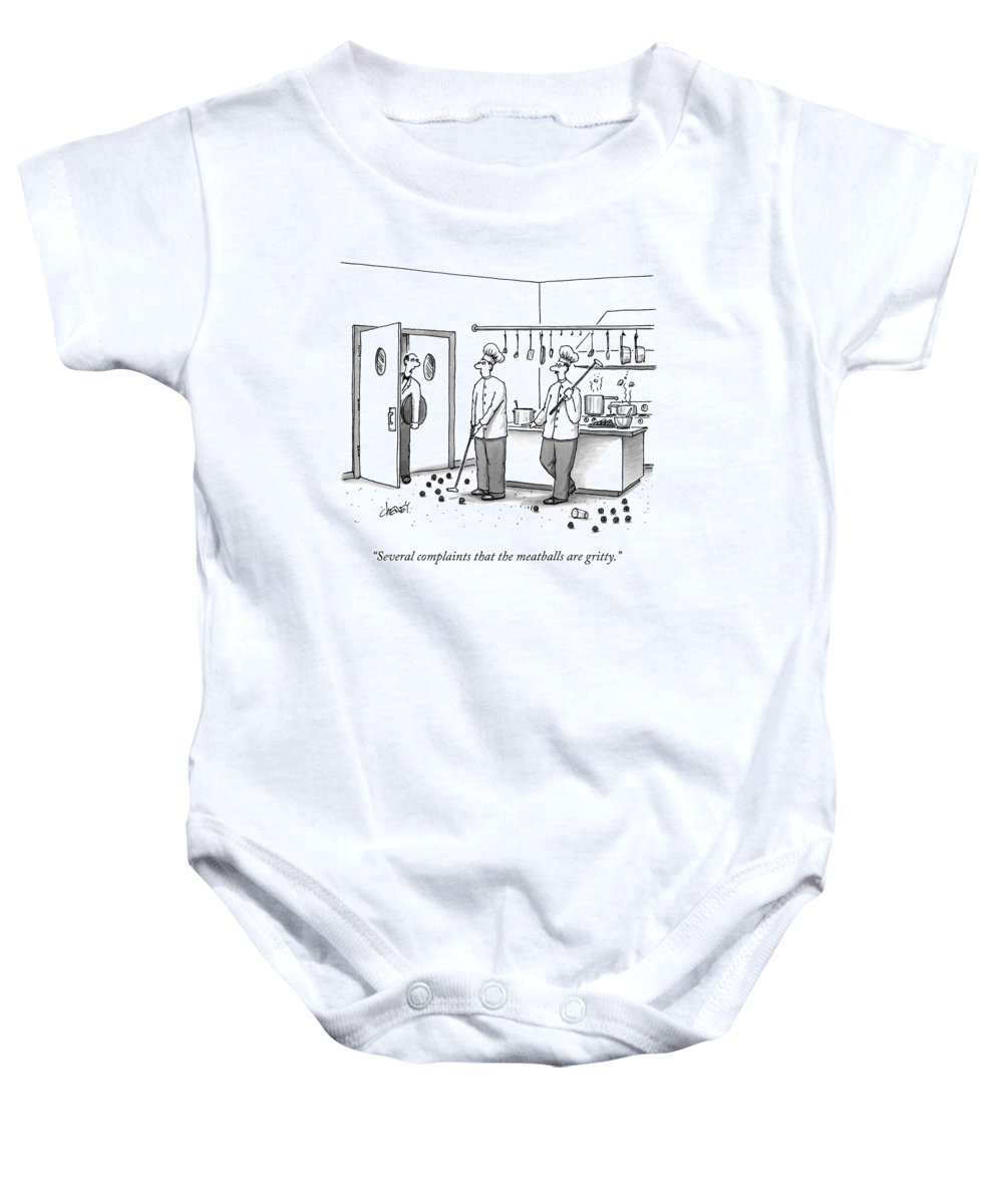 Chefs Baby Onesie featuring the drawing A Waiter Speaks To Two Chefs In A Kitchen Who by Tom Cheney