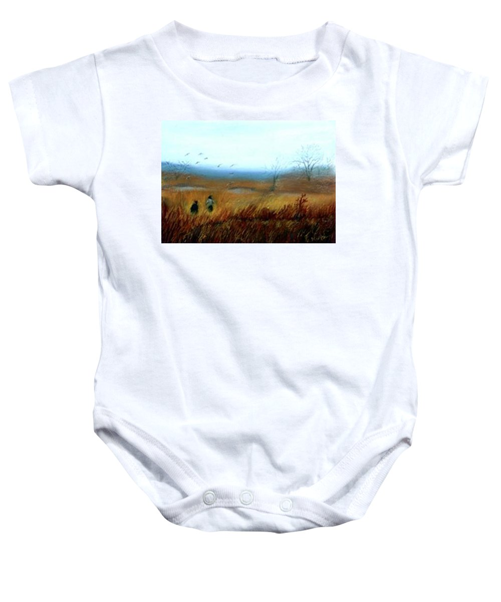 Figures Baby Onesie featuring the painting A Winter Walk by Gail Kirtz