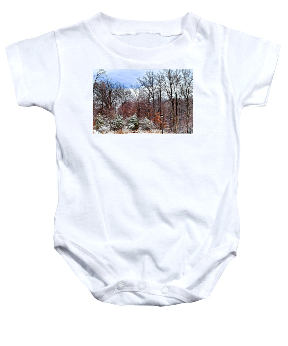 3d Baby Onesie featuring the photograph A Winters Scene by Frozen in Time Fine Art Photography