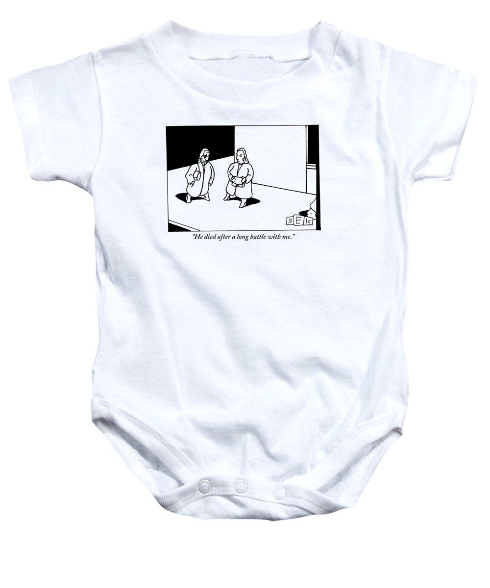 Cancer Baby Onesie featuring the drawing A Woman Discussing Her Deceased Husband by Bruce Eric Kaplan