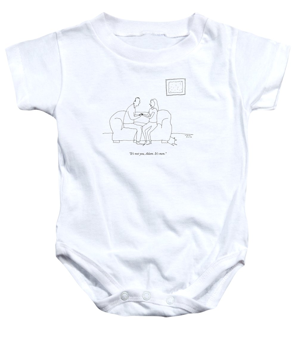 Gender Baby Onesie featuring the drawing A Woman Says To A Man by Liana Finck