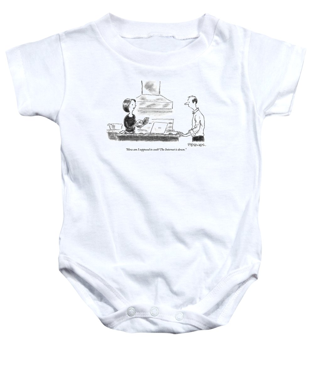 Internet Baby Onesie featuring the drawing A Woman Stands In The Kitchen Helplessly by Pat Byrnes