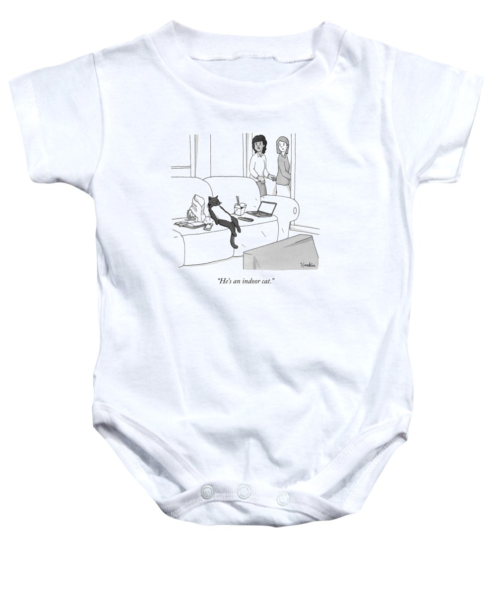 Pet Baby Onesie featuring the drawing He's An Indoor Cat by Charlie Hankin