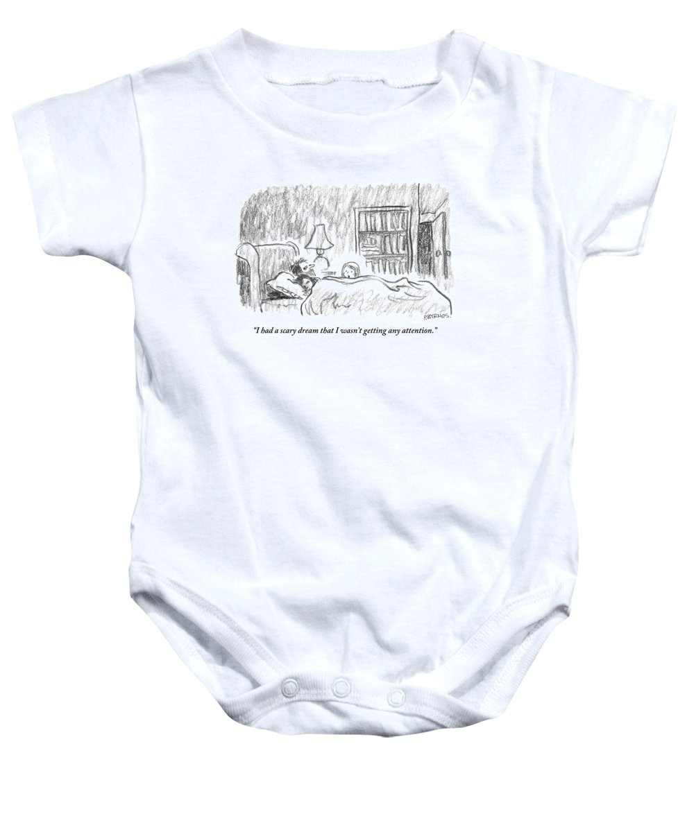 Sleep - Dreams Baby Onesie featuring the drawing A Young Girl Wakes Up Her Sleeping Parents by Pat Byrnes