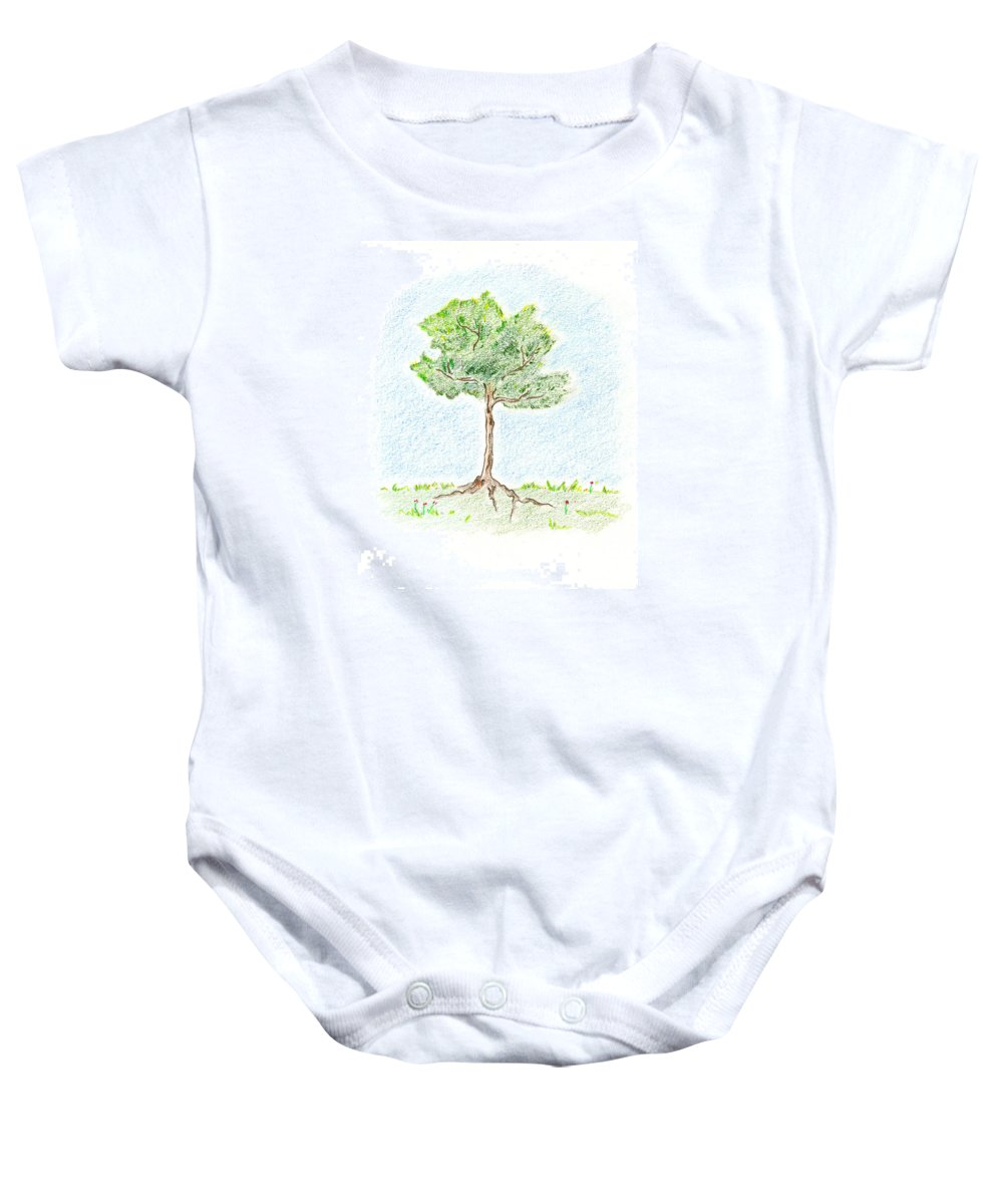 Young Tree Baby Onesie featuring the drawing A Young Tree by Keiko Katsuta