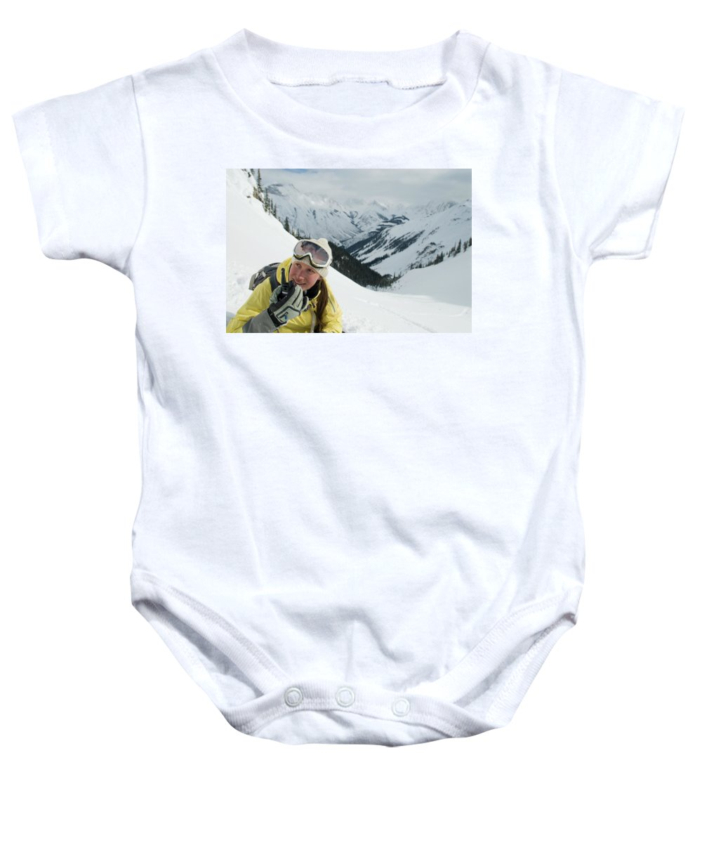 20s Baby Onesie featuring the photograph A Young Woman Radios by Doug Marshall